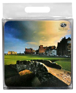 Glasunderlägg golf St Andrews golfbana 4-pack